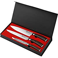 Pendali Stainless Steel Chef Knife Set with 8 inch Chef Knife, 8 inch Carving Knife, 5 inch Utility Knife