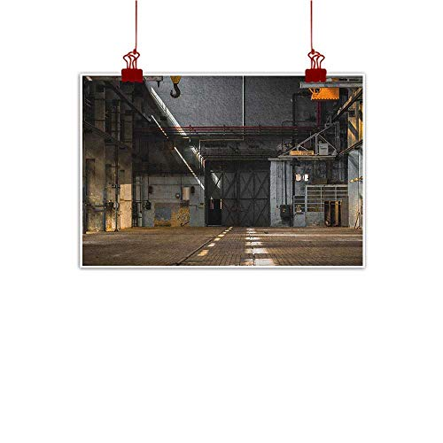 Anyangeight Simple Life Minimalist Industrial,Dark Industrial Interior of an Old Building Place of Manufacturing Hangar Print, Multicolor 24