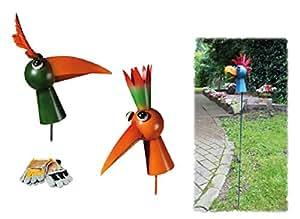 """'Jardín Conector """"Bunter–divertido pájaro sobre spiralfeder & Guantes de trabajo (cuero desdoblado ~, azul"""