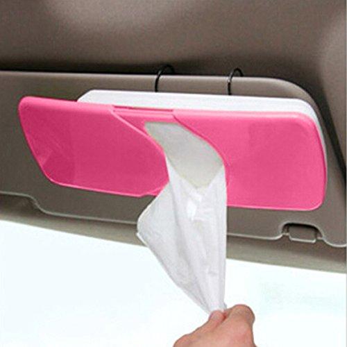 Vktech Auto accessories Car sun visor car Tissue Box cover holder Paper napkin clip (Red)
