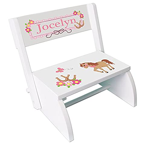 Personalized Ponies Prancing Childrens and Toddlers White folding stool - Folding Horse Stable Wood