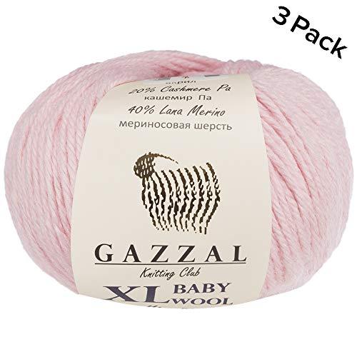 3 Pack (Ball) Gazzal Baby Wool XL Total 5.28 Oz / 328 Yrds, Each Ball 1.76 Oz (50g) / 109 Yrds (100m) Super Soft, Medium-Worsted Yarn, 40% Lana Merino 20% Cashmere Type Polyamide, Pink-836 ()