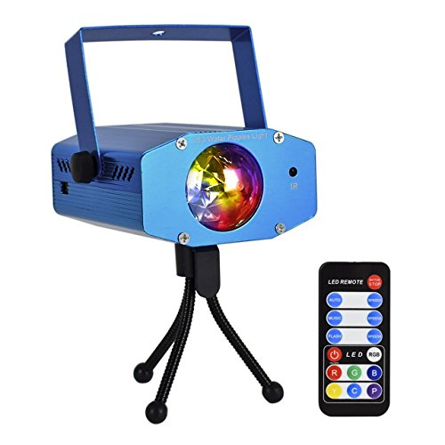 Eyourlife 9W Portable Water Wave Light RGB LED Ocean Wave Projector Ripple Effect Stage Lighting 7 Colors with Remote Control for Party DJ Show Wedding Disco Club Blue - Led Disco Lighting Effect
