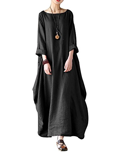 (Celmia Women's 3/4 Sleeve Round Neck Solid Loose Long Maxi Dress Cotton Gown with Side Pockets Black XL)