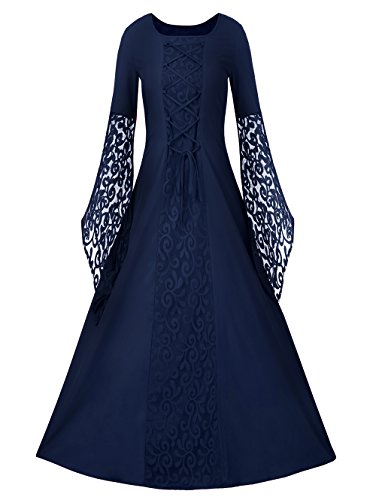 Cheap Victorian Dress (Misassy Womens Renaissance Costumes Medieval Dress Lace Up Floor Length Victorian Retro Gown Cosplay Clothing)
