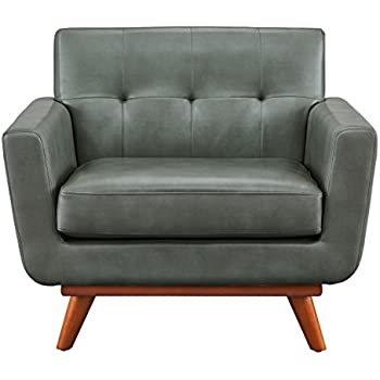 TOV Furniture The Lyon Collection Mid Century Modern Smoke Grey Leather  Fabric Upholstered Wood Living