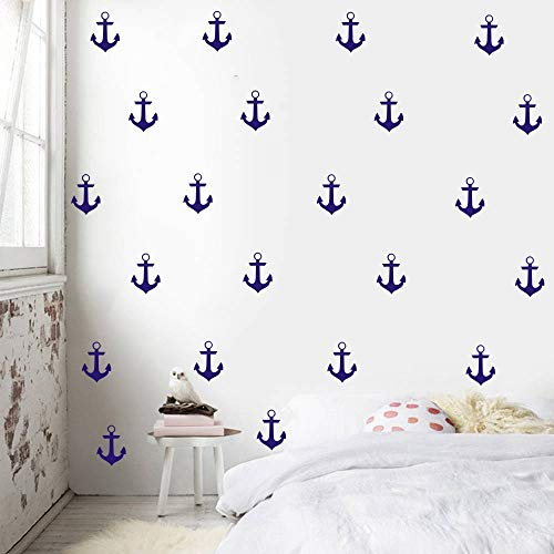 YOYOYU Set of 48 Anchor Pattern Wall Sticker Vinyl Sailing Nautical Wall Decal- Kids Boys Room Interior Home Decoration Mural (Dark - Stickers Anchor