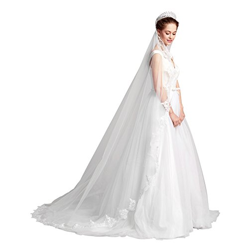 AW 1T Ivory Wedding Veil Applique Edged Tulle and Lace Cathedral Veil with Comb - Tiara Bridal Illusions