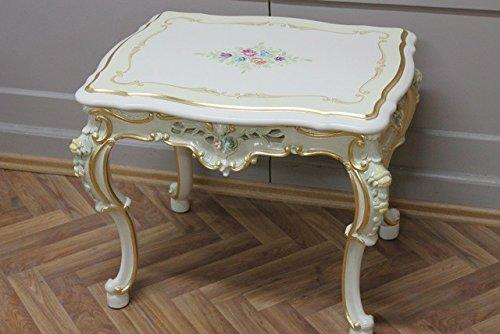Barock Tisch Couchtisch 65x50 in weiß