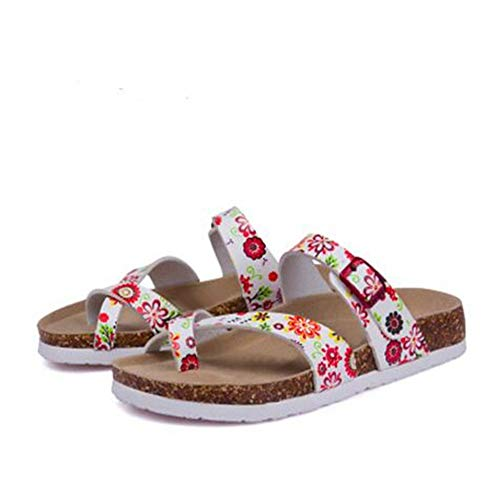 Buckle YaMiFan Toe Women's Strap Slide Adjustable with Sandals 13 Flat Cork Open 861q4Bw8x