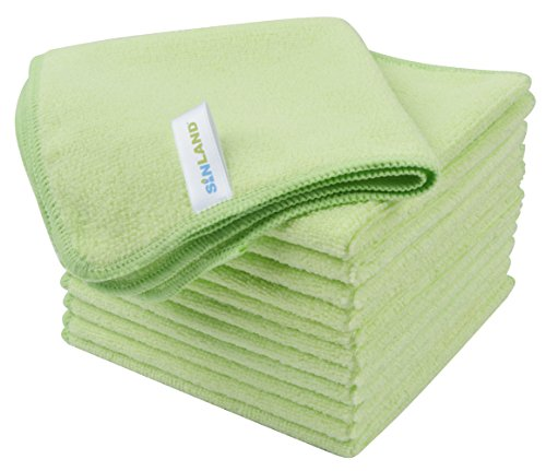 SINLAND Microfiber Cleaning Cloth Absorbent Dish Cloth Kitchen Streak Free Dish Rags Lens Cloths 12 Inch X 12 Inch 12 Pack Light Green