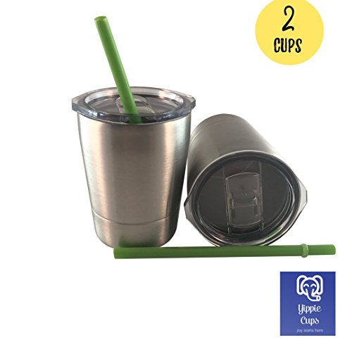 Stainless Steel Cups for Kids W/ Straw & Lid by YIPPIE Cups | 2 Pack 8.5 oz Stainless Steel Sippy Cups (Lids For Kids)