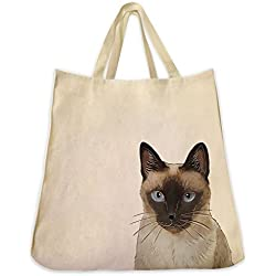 Dog Cat and Pet Tote Bags Extra Large Reusable Canvas Over the Shoulder Handbags (Siamese Cat)