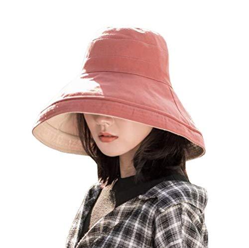 (FaroDor Women Reversible Bucket Hat UV Sun Protection Wide Brim Summer Beach Hat Packable Red)