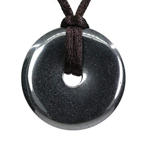 AMANDASTONES Natural Hematite Peace Donut 30M Beads Adjustable Braided Macrame Tassels Pendant Unisex