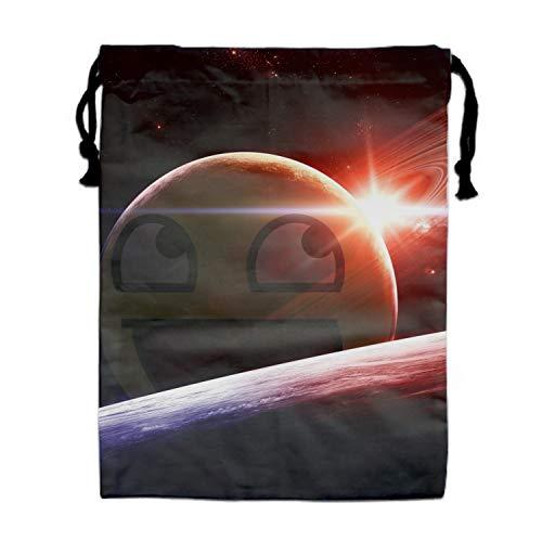 Drawstring Bag Humor Smiley Planet Sun UFO Earth Folding Sport Bags Home Travel Storage Use for $<!--$11.99-->