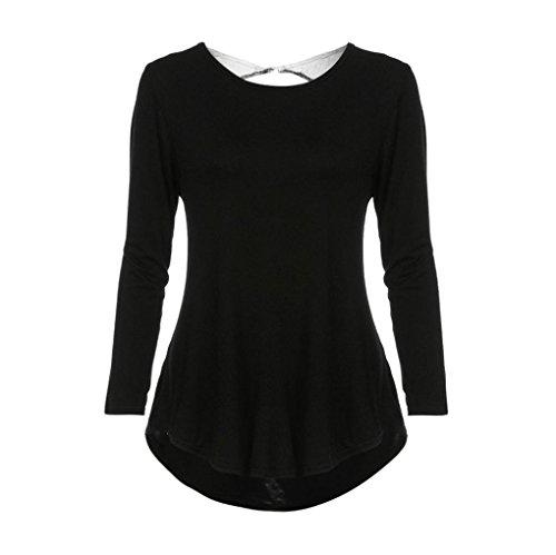 Zolimx Mujeres Suelto Ocasionales Manga Larga Camisas Backless Del Cordón Del Remiendo Del O-Cuello Del Algodón Nergo