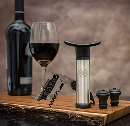 Wine Stoppers, Wine Bottle Opener, Vacuum Pump Wine Preserver with Corkscrew from AXIOS - Cool Gift Accessories for Wine -