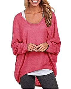 Yidarton Womens Summer Casual Shirts Oversized Baggy Off-Shoulder Long Sleeve Tops Red X-Large