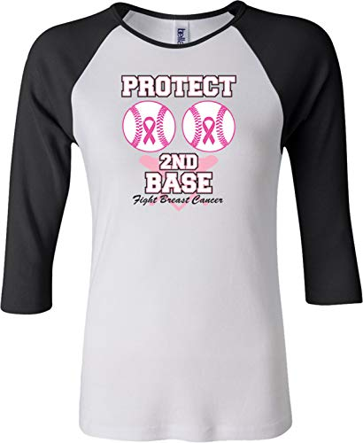 Buy Cool Shirts Breast Cancer Protect Second Base Ladies Raglan Shirt, White Black XL