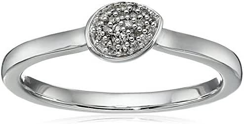 Fashion Ring with White Diamond Accent in Sterling Silver Ring, Size 7