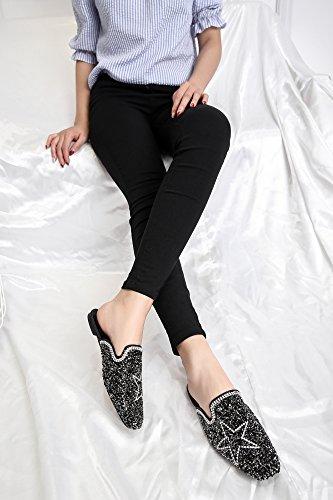 argenteo sandali combaciano piana primavera pentagramma i 35 lustrini GTVERNH scarpe CFAqw7z