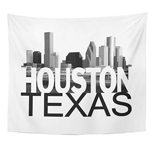 (Semtomn Tapestry Artwork Wall Hanging Texas Houston Skyline Sign Architecture Cityscape Movie Film Building 50x60 Inches Home Decor Tapestries Mattress Tablecloth Curtain)