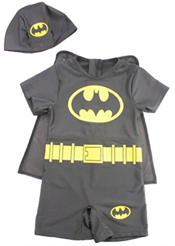 Batman Super Hero Three Piece Rash Guard Swimsuit Set Little Boys (5T)