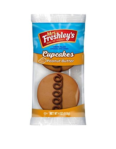 Mrs. Freshley's Peanut Butter Creme Filled Chocolate Cupcake, 4 Ounce 6 Packages -