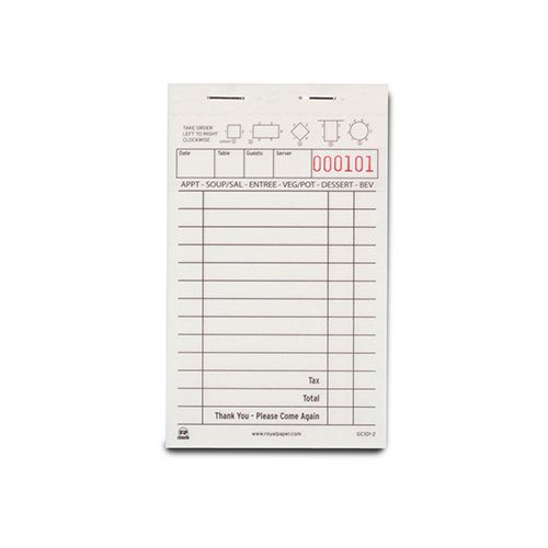 Royal White Order Pads, Carbonless 2 Part Booked with 13 Lines, Package of 10 (Carbon Guest Check)