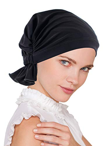 (Abbey Cap Womens Chemo Hat Beanie Scarf Turban Headwear for Cancer Blended Knit Raven Black)