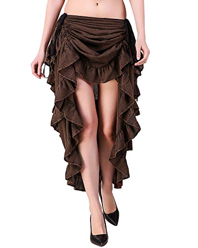 ThePirateDressing Steampunk Victorian Gothic Womens Costume Show Girl Skirt (Stonewash Crater Brown) (Small (Waist 24