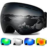 Zerhunt Ski Goggles, Snowboard Goggles Over Glasses, Anti Fog UV Protection Snow Goggles OTG Interchangeable Lens for Men Women...