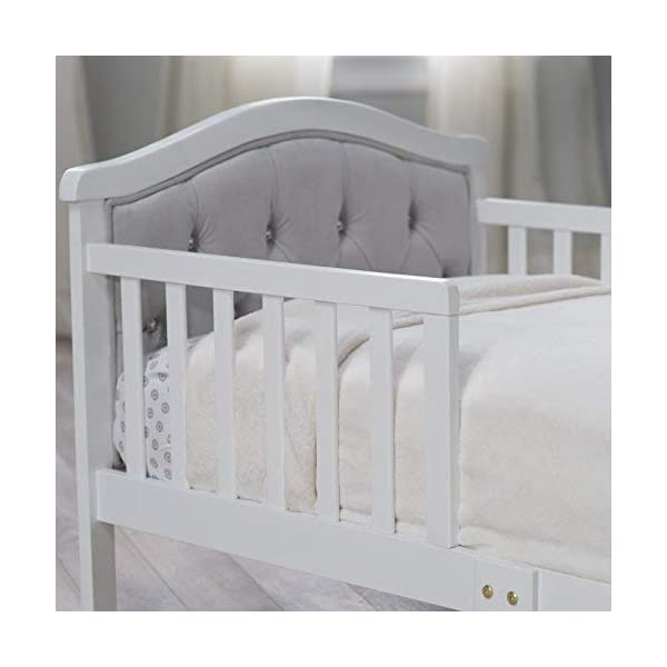 Toddler Bed with Soft Tufted Headboard, Kids Wood Bed Frame with Half Side Rails 3