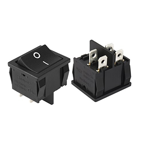 uxcell 5Pcs DPST On Off Switch 4 Terminal 2 Position Boat Rocker Switches Black AC 12A/125V 10A/250V