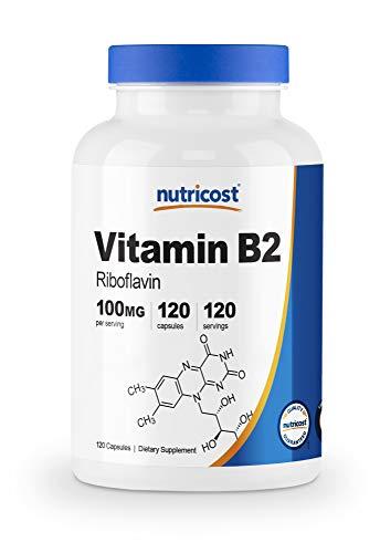 Nutricost Vitamin B2 (Riboflavin) 100mg, 120 Capsules – Gluten Free and Non-GMO