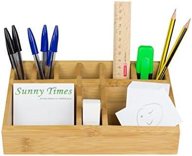 Sunny Times Büro Schreibtischorganizer Bambus, Din A5, Aufbewahrungsbox für Stifte, Kosmetik, Make Up, HBT: 10 x 23 x 10 cm, natur