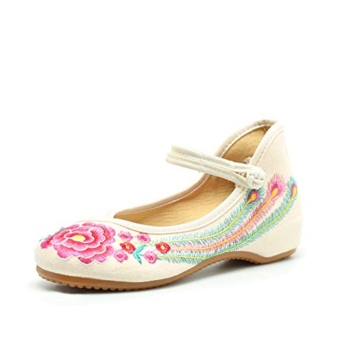 (Embroidered Chinese Shoes Women's Embroidery Flowers Style Comfortable Beige Flats(9.5-10 B(M) US/CN43/26.5CM,Beige))