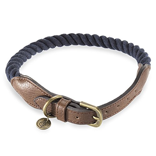 Embark Pets Zion Dog Rope Collar (Extra Small/Small, Navy Blue)
