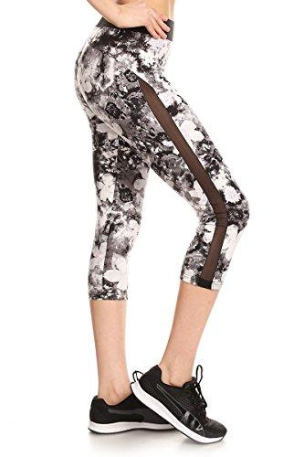 Sejora Satina Yoga Pants & Capris Activewear Exercise Leggings w/Designs & Mesh (Large, 02 (Mesh Floral Design)