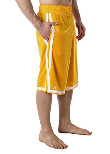 Men's Russell Athletic Basketball Mesh Shorts Gold S (Athletic Shorts Russell Jersey)
