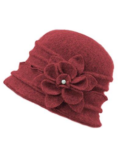 Dahlia Women's 100% Wool Vintage Ruffle Flower Bucket Hat/Cloche Hat, Red