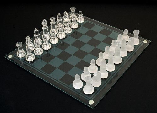 Etched Glass Chess Set by Classic Game Collection ()