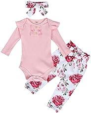 Edjude Newborn Baby Girks Romper Clothes Set Toddler Long Sleeves Bodysuit Floral Legging Pants Birthday Outfi