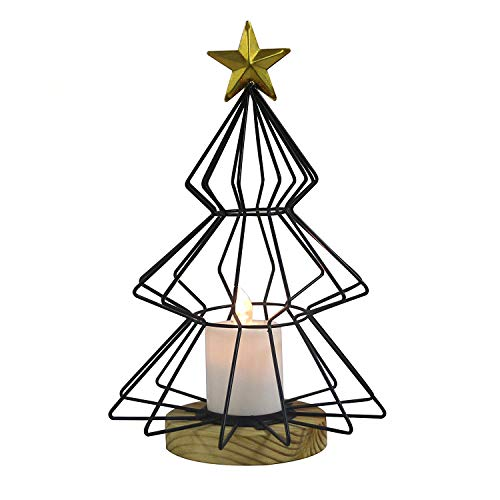 JIN-solar Christmas Lights, Halloween. Metal Christmas Tree Base, no Flame lit Candles, Realistic and Bright, Naturally Flashing, Battery-Powered Candles,Black