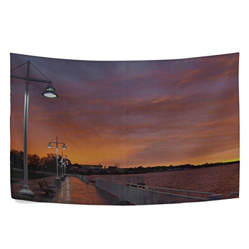 (RH Studio Tapestry City Evening Sunset Sky Clouds Promenade Trees Benches River Lights Wall Hanging Tapestries Dorm Livingroom Bedroom Bedspread Sofa Cover Beach Towel(60x40inch))