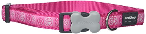 Red Dingo 25mm Paw Impressions Dog Collar, Large, Hot Pink