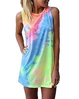 ZANZEA Women's Sleeveless T Shirt Dress Tie-dye Floral Print Cold Shoulder Tank Mini Dress
