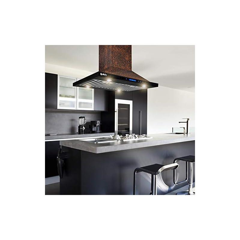 AKDY Island Mount Range Hood - Embossed Copper Hood Fan for Kitchen - 4-Speed Professional Quiet Motor - Premium Touch…