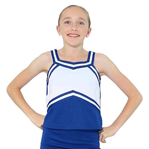 - Danzcue Girls Sweetheart Cheerleaders Uniform Shell Top, Royal-White, Large